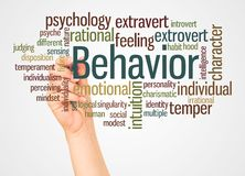 Behavior word cloud and hand with marker concept stock illustration