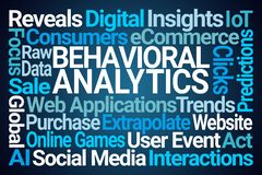 Behavioral Analytics Word Cloud. On Blue Background stock illustration