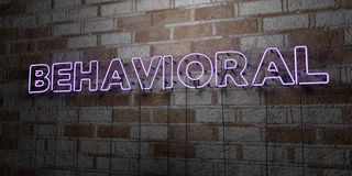 BEHAVIORAL - Glowing Neon Sign on stonework wall - 3D rendered royalty free stock illustration. Can be used for online banner ads and direct mailers vector illustration