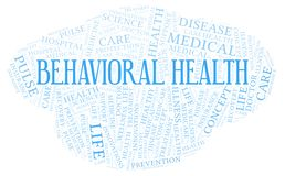 Behavioral Health word cloud. Wordcloud made with text only royalty free illustration