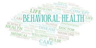 Behavioral Health word cloud. Wordcloud made with text only vector illustration