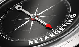 Behavioral Retargeting or Remarketing Concept. 3D illustration of a compass with needle pointing the word retargeting over black background. Online advertising stock illustration