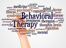 Behavioral Therapy word cloud and hand with marker concept. On white background royalty free illustration