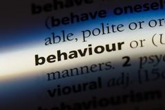 Behaviour. Word in a dictionary.  concept royalty free stock image