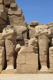 Beheaded pharaoh sculptures, Luxor Stock Images