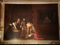 The beheading of Saint John the Baptist by Caravaggio stock images