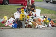 Behelfsmäßiges Denkmal für Michael Brown in Ferguson MO Lizenzfreies Stockbild