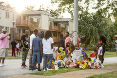 Behelfsmäßiges Denkmal für Michael Brown in Ferguson MO Stockfoto