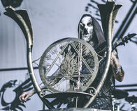 Behemoth, Nergal, live in concert 2017, black metal. Behemoth is a Polish extreme metal band from Gdańsk, formed in 1991. They are considered to have played an Royalty Free Stock Photography