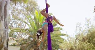 Behendige lenige turner die een acrobatische dans uitvoeren stock video