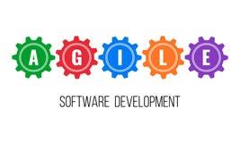 BEHENDIGE software-ontwikkeling, toestellenconcept vector illustratie