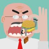 Beherrschen Sie das Essen des Geschäftsmannes, das durch Burger eingeschlossen erhalten Stockbilder