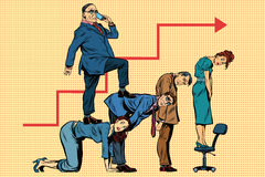 Beherrschen Sie Geschäftskarriere auf den Rückseiten von Arbeitskräften Stockbilder