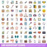 100 behilfliche Ikonen eingestellt, Karikaturart Lizenzfreie Stockbilder