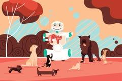 Behilfliches Modell des Roboters Hunde, dasglückliche Haustiere geht lizenzfreie abbildung