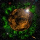 Behin de lever de soleil une planète Images stock