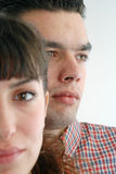 Behind. Man behind woman in office Stock Image