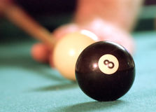 Behind the 8-ball. Still life image of taking a shot at the 8-ball Royalty Free Stock Photo