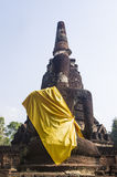 Behind ancient buddha statue. On blue background Royalty Free Stock Photography
