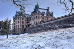 Behind Biltmore House In Snow royalty free stock images