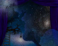 Behind the blue curtains. Surrealism. Blue curtains. Ladder leads to tree branch. Galaxy in the sky. This image created by me from my own images Royalty Free Stock Photography