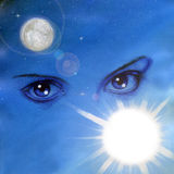 Behind blue eyes. Hand-made illustration of female eyes on a blue blackground Royalty Free Stock Photography