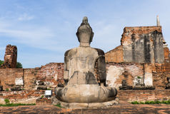 A behind buddha statue at Ayutthaya in Thailand Stock Images