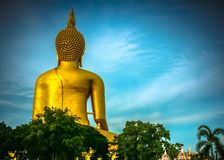 Behind of buddha statue Stock Photos
