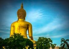 Behind of buddha statue Stock Photos