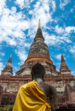 Behind the buddha statue and old temple in Thailand Stock Image