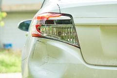 Behind the car Accident hit There are signs of collision headlights damaged car body collapsed car collapsed unsecured. stock photos