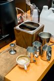 Behind coffee barista counter scene filled with coffee ground kn stock photography