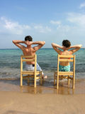 Behind Couple On Beach Royalty Free Stock Photos