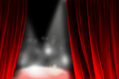 Behind the curtain watching a shining stage. Public takes photos while is waiting for your entry on the stage Royalty Free Stock Photo