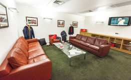 Behind the curtains. In the coaches room of FC Arsenal stock image