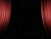 Behind curtains, starlight Stock Photo