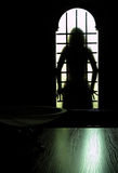 Behind the door. Woman's silhouette staying behind the door Royalty Free Stock Images