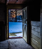 Behind the door. Photo taken at sunrise I was inside my barn. I was on my camera in HDR position. Nice effect Stock Photo