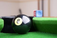 Behind the eight ball. Up close behind the eight ball,shallow depth Royalty Free Stock Photography