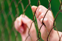 Behind Fence I. An image of a person under restriction Stock Photos