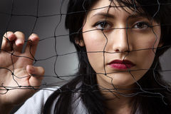 Behind a fishing net Royalty Free Stock Photo