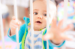 Behind the gates. Little boy standing behind the gates preventing him from entering the kitchen Stock Image