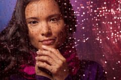 Behind the glass in rainy weather Royalty Free Stock Images