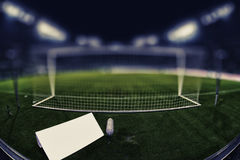 Behind the goal with copy space and blurred background Stock Image