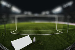 Behind the goal with copy space and blurred background Stock Images