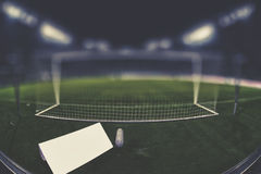 Behind the goal with copy space and blurred background Stock Photo