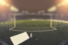 Behind the goal with copy space and blurred background Royalty Free Stock Photography