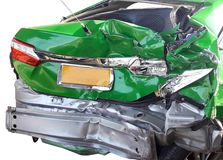 Behind of the green car accident Stock Image