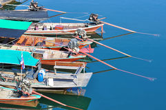Behind of group of long tailed boat Stock Images