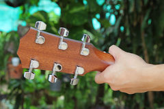 Behind of guitar head stock Stock Image